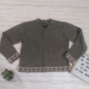 Woolrich Leaf Leaves V Neck Pullover Wool Sweater